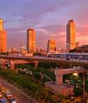 Vue de Bangkok au coucher de soleil