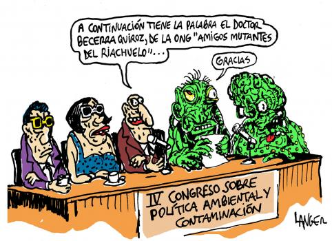 Dessin humoristique dénonçant la pollution du Riachuelo.