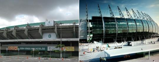 Le stade de Castelão, à Fortaleza, avant et après travaux.