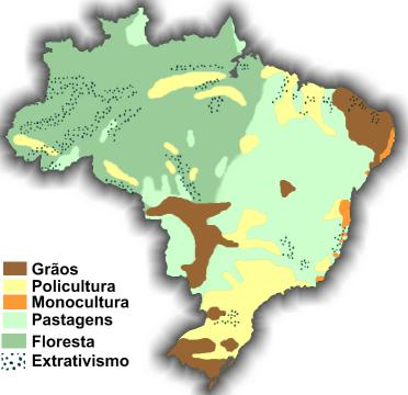 Carte agricole du Brésil en 2009.