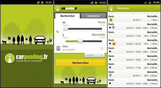 Carpooling.com sur smartphone.