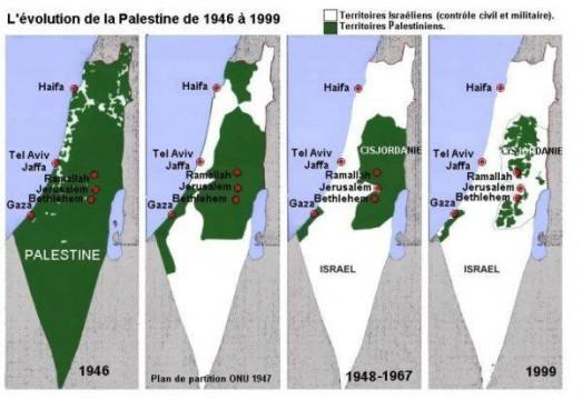 Evolution de la Palestine de 1946 à 1999.
