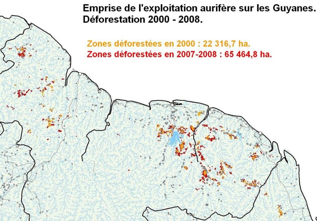 Exploitation aurifère et déforestation.