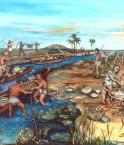 Peinture de Dan Brinkmeier sur la vie préhispanique en Bolivie.